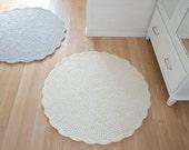 Round Rug Wool carpet - Crochet Rug wool carpet Cream White - Housewarming gift home decor wool carpet