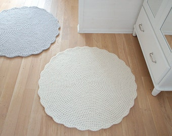Round Rug Wool carpet - Crochet Rug wool carpet Cream White - Housewarming gift home decor wool carpet