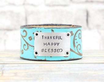 Leather Cuff  - Colorful Bracelet - Hand Stamped Jewelry - Colorful Leather Bracelet - Metal Stamped Jewelry - Hand Stamped - Custom Stamped