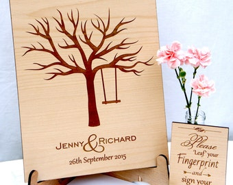 Personalised Wedding Guest Book Alternative,Wooden Engraved Fingerprint Tree, Rustic Wedding, Ink Pads, Sign & Pen Included!