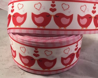 Love Bird Ribbon - 1.5 Inch Grosgrain Ribbon- Valentine Ribbon for Hairbows, crafting and more! Pink and Red Love Bird Ribbon- Valentines
