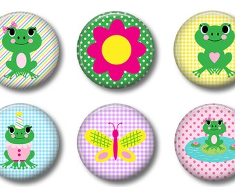 Frogs Set of 6 Magnets 1 Inch (2.5cm)