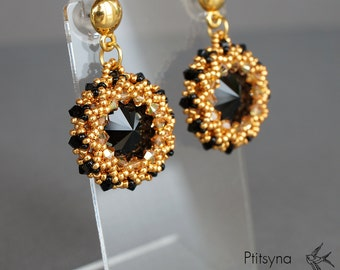 Black and gold earrings beaded earrings swarovski earrings beadwoven earrings bead earrings bead woven earrings bead earrings beadwork