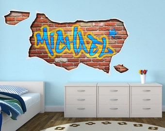 Personalized Graffiti - Custom Name - Wall Art Bedroom Decal Sticker - SKU: PerGrafNa