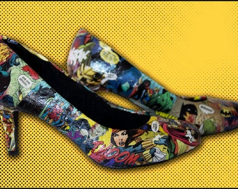 Custom Comic Book Heels, Comic Wedding Shoes, Comic Con Shoes, Superhero Shoes, Cosplay Shoes, Made to Order Shoes, Wide Width Available