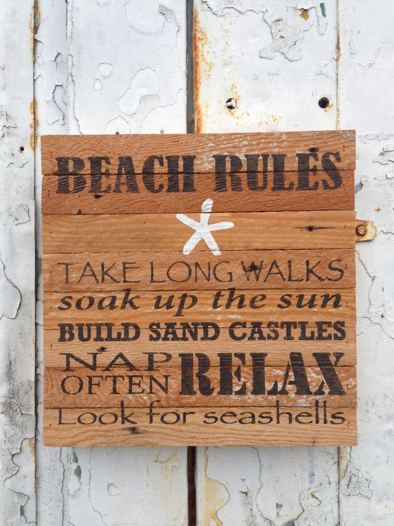 beach rules rustic signs wood sign rustic home decor wood