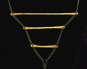 Hammered Brass Ladder Necklace
