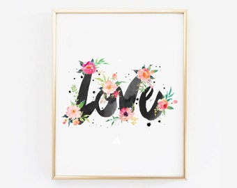 "LOVE Watercolor Printable Wall Art - Watercolor Flowers Affiche Noel - Scandinvian Poster 16x20"",11x14"",8x10"",A3"
