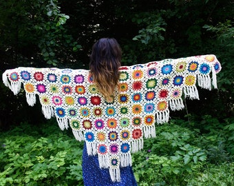 Crochet Shawl Colorful Shawl Granny Square Flower