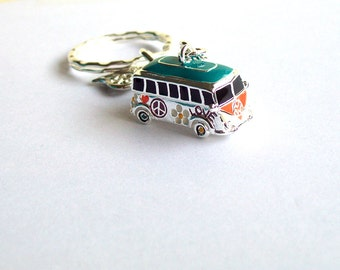 Retro VW Campervan Keyring~ 3D Hippie Love BAG Charm ~ New ~ VW Camper Van Keychain