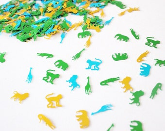 Animal foil shiny confetti double-sided, jungle animal party decor, assorted colors (200+)