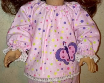 Doll clothes, 18 inch size dolls, American Girl ,flannel pajamas, Velcro back,  elastic for easy dressing,  lace,  free shipping currently