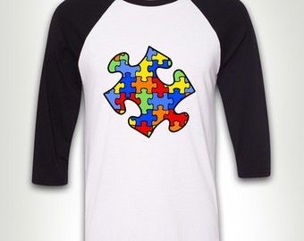 Baseball Tee - Autism Puzzle Piece T-shirt shirt Tee Autistic Support Educate Advocate Love Autism Awareness Month April Spectrum MB48