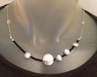 Asymmetrical Silver Disks and Chain necklace