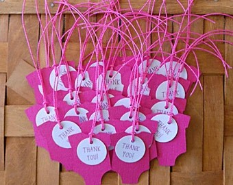 Favor Tags, Thank You Tags, 25 Pink Thank You Favor Tags, Homemade Baby Shower Tag, Baby Shower Favor, Pink Baby Favor Tags, Thank You Tags
