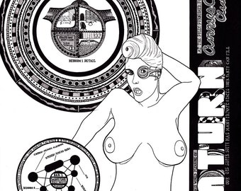 Nude Space Travel Poster Advertising Brothel Club on Saturn [14in x 17in]