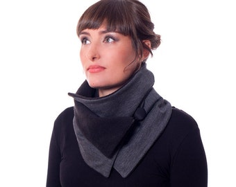 Jersey Cowl Gray And Black, Collar Scarf, Neck Warmer,Black Polar Fleece Scarf, Infinity Scarf, Present for her