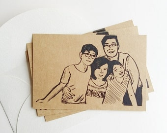 CUSTOM POSTCARD, Realistic Drawing Portrait, Lovely Family, Friendship, Handmade Gift Friend, Birthday, Cute Father Mother Mom Dad Christmas