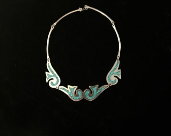 Vintage Mexican Modernist Silver and Turquoise Necklace
