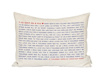 Song Lyric Pillow, Wedding Vows, Housewarming Gift, Cotton Anniversary, 2nd Anniversary, Gift for Her, Gift for Him, Music Decor