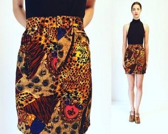 Vtg 80s Denim Animal Print Golden High Waisted Mini Skirt