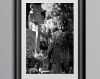 Grave Scuplture, Young Child Holding Flowers, Georgia Cemetery
