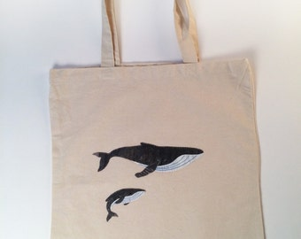 Mama and Baby Humpback Whale Tote Bag