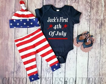 Baby Boys First 4th Of July Outfit,Customized Name, Navy Blue Bodysuit, Red White And Blue Pants And Hat, Fourth Of July Outfit Set