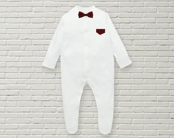 Burgundy Baby Bowtee Babygrow/Bodysuit