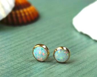14K Opal Stud Earrings, 14k Gold Earrings, White Opal Earrings, Opal Earrings, Gold Studs, Gift for her, October Birthstone, Opal Jewelry