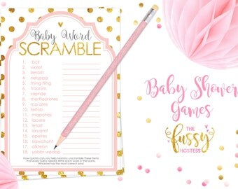Word Scramble Baby Shower Games, Word Scramble,  Baby Shower Game, Instant Download, Baby Shower, Printable Games, Pink and Gold
