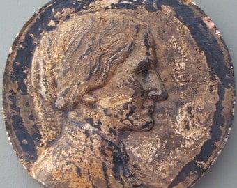 Vintage Cast Plaster Portrait Medallion