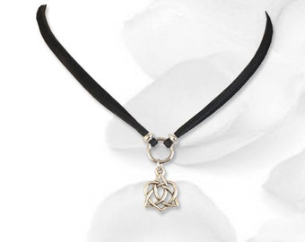 Bound Heart Celtic Knot Submissive Collar BDSM Slave Collar Black Leather Collar BDSM Jewelry