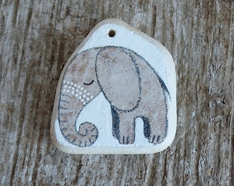 Large Drilled Beach Pottery Tile Elephant with Dots