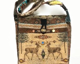 Large Handmade Crossbody Bag Tribal Ethnic Look Upcycled