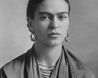 Frida Kahlo Artist Portrait Photo taken by Her Father Guillermo Kahlo Mexico Mexican Mexicana Reprint Black & White Photography Photo Print