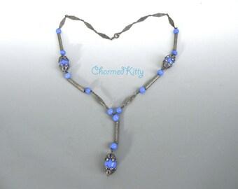 Vintage 20s Necklace, Nouveau Bohemian Blue Czech Glass Necklace - on sale