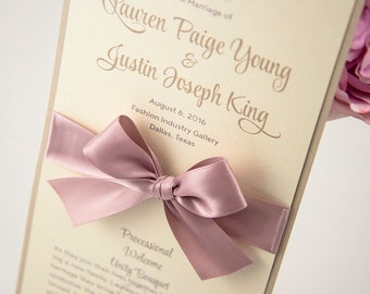 Large, Ceremony Program Card with a Bow