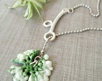 Y silver necklace ,Y Necklaces green and white,green necklace, Artificial flower,Y necklace,