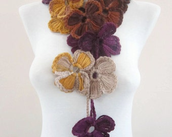 Scarf Crochet, Lariat Scarf, Flower Lariat Scarves, Long Necklace, Crocheted Jewelry, Floral Accessories, Woman Scarf, Purple Yellow Cream
