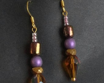 Earrings -Goldtone with Purple