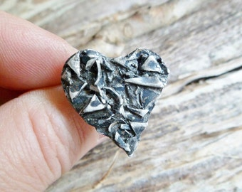 Broken Heart Ring. Adjustable Ring. Oxidized Ring. Oxidized Sterling Silver Ring. Heart Ring. Adjustable Silver Ring. Handmade Ring.