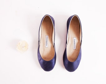 Royal Navy Blue Ballet Flats | Shiny Glitter Ballerinas | Evening Chic Ballet Flats | Minimal Design ... Midnight Blue ... Ready to Ship!