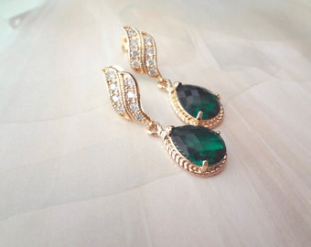 Gold emerald earrings ~ Teardrops, Bridal jewelry,Bridesmaids earrings,Gold over sterling posts, May birthstone,Wedding earrings,OUTSTANDING