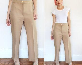 Vintage 1970s 1980s Preppy Beige High Waist Pants / Straight Leg Casual Comfort Fit / Large