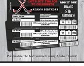 Hockey Birthday Party Invitation - Hockey Invitation - Hockey Ticket Invitation - Instant Download - Personalize at home in Adobe Reader