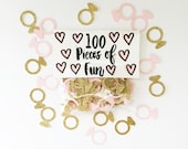 wedding confetti, ring confetti, engagement, engagement confetti, wedding shower, gold wedding shower, gold wedding, gold and pink wedding