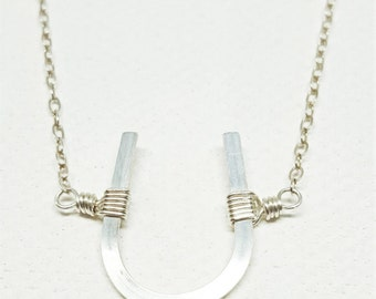 Horseshoe Necklace - Silver, Horseshoe Jewelry, Horseshoe Necklace - Sterling Silver, Good Luck Necklace, Lucky Horseshoe