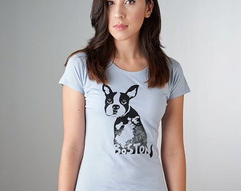 Boston Terrier Clothing, Boston Terrier Shirt, Boston Tshirt, Organic T-shirt for Women
