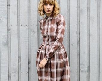 Tartan Dress - Plaid Dress - Autumn Dress - Long Sleeved Dress - Handmade by OFFON